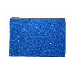 Night Sky Sparkly Blue Glitter Cosmetic Bag (Large)
