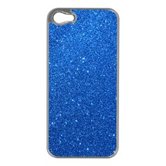 Night Sky Sparkly Blue Glitter Apple iPhone 5 Case (Silver)