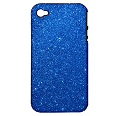 Night Sky Sparkly Blue Glitter Apple iPhone 4/4S Hardshell Case (PC+Silicone)