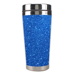 Night Sky Sparkly Blue Glitter Stainless Steel Travel Tumblers