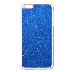 Night Sky Sparkly Blue Glitter Apple iPhone 6 Plus/6S Plus Enamel White Case