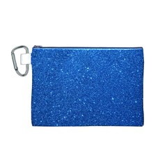 Night Sky Sparkly Blue Glitter Canvas Cosmetic Bag (M)