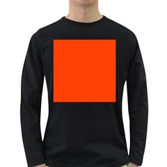 Bright Fluorescent Attack Orange Neon Long Sleeve Dark T-Shirts