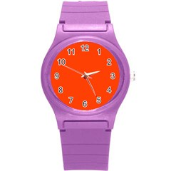 Bright Fluorescent Attack Orange Neon Round Plastic Sport Watch (S)