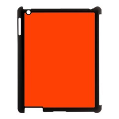 Bright Fluorescent Attack Orange Neon Apple iPad 3/4 Case (Black)