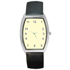 Pastel Lemon Yellow Pale Soft Meringue Yellow Barrel Style Metal Watch