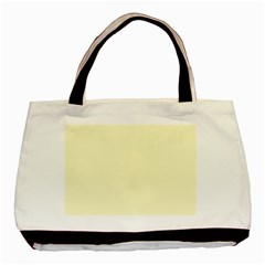 Pastel Lemon Yellow Pale Soft Meringue Yellow Basic Tote Bag (Two Sides)