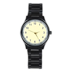 Pastel Lemon Yellow Pale Soft Meringue Yellow Stainless Steel Round Watch