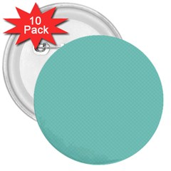 Tiffany Aqua Blue Puffy Quilted Pattern 3  Buttons (10 pack)