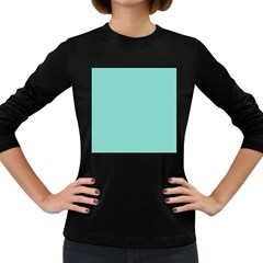 Tiffany Aqua Blue Puffy Quilted Pattern Women s Long Sleeve Dark T-Shirts