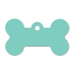 Tiffany Aqua Blue Puffy Quilted Pattern Dog Tag Bone (One Side)