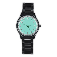 Tiffany Aqua Blue Puffy Quilted Pattern Stainless Steel Round Watch
