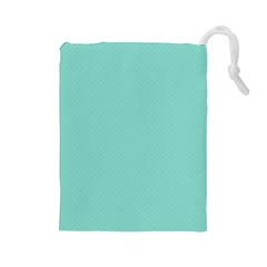 Tiffany Aqua Blue Puffy Quilted Pattern Drawstring Pouches (Large)