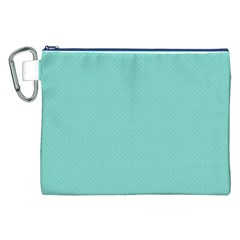 Tiffany Aqua Blue Puffy Quilted Pattern Canvas Cosmetic Bag (XXL)