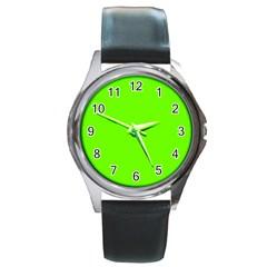 Bright Fluorescent Green Neon Round Metal Watch