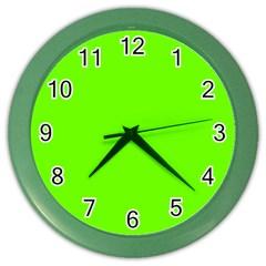 Bright Fluorescent Green Neon Color Wall Clocks