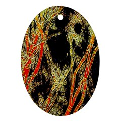 Artistic Effect Fractal Forest Background Ornament (Oval)