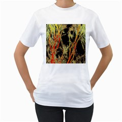 Artistic Effect Fractal Forest Background Women s T-Shirt (White) (Two Sided)