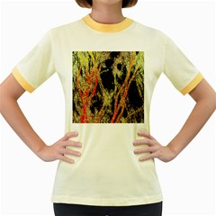 Artistic Effect Fractal Forest Background Women s Fitted Ringer T Shirts