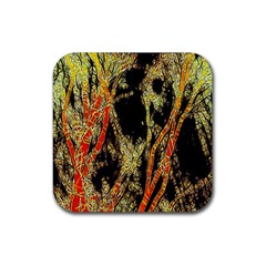 Artistic Effect Fractal Forest Background Rubber Square Coaster (4 Pack)