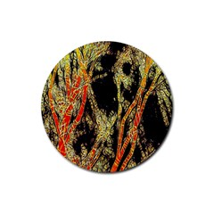Artistic Effect Fractal Forest Background Rubber Round Coaster (4 pack)
