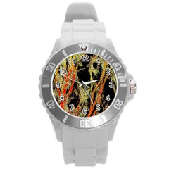 Artistic Effect Fractal Forest Background Round Plastic Sport Watch (l)
