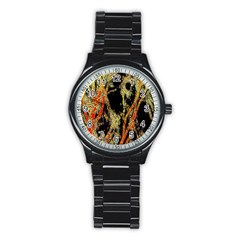 Artistic Effect Fractal Forest Background Stainless Steel Round Watch
