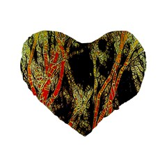 Artistic Effect Fractal Forest Background Standard 16  Premium Flano Heart Shape Cushions