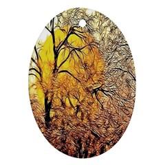 Summer Sun Set Fractal Forest Background Ornament (oval)
