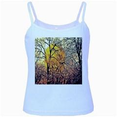 Summer Sun Set Fractal Forest Background Baby Blue Spaghetti Tank
