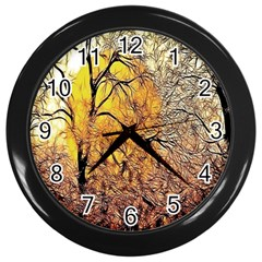 Summer Sun Set Fractal Forest Background Wall Clocks (black)