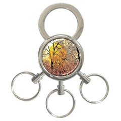 Summer Sun Set Fractal Forest Background 3 Ring Key Chains