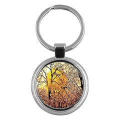 Summer Sun Set Fractal Forest Background Key Chains (round)