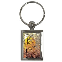 Summer Sun Set Fractal Forest Background Key Chains (Rectangle)