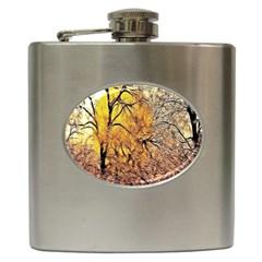 Summer Sun Set Fractal Forest Background Hip Flask (6 Oz)