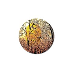 Summer Sun Set Fractal Forest Background Golf Ball Marker (4 Pack)