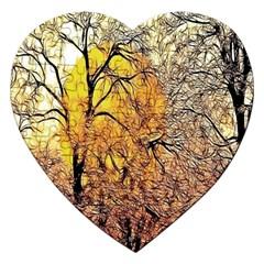 Summer Sun Set Fractal Forest Background Jigsaw Puzzle (Heart)