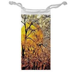 Summer Sun Set Fractal Forest Background Jewelry Bag