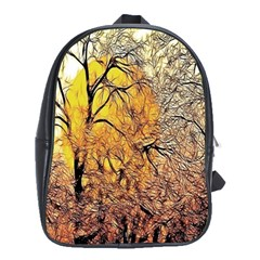 Summer Sun Set Fractal Forest Background School Bags(large)