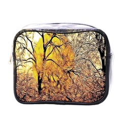 Summer Sun Set Fractal Forest Background Mini Toiletries Bags