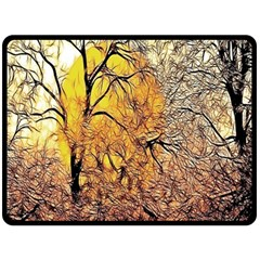 Summer Sun Set Fractal Forest Background Fleece Blanket (large)