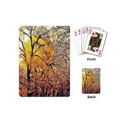 Summer Sun Set Fractal Forest Background Playing Cards (mini)