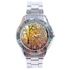 Summer Sun Set Fractal Forest Background Stainless Steel Analogue Watch