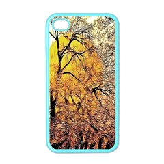 Summer Sun Set Fractal Forest Background Apple iPhone 4 Case (Color)
