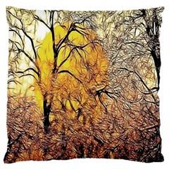 Summer Sun Set Fractal Forest Background Large Cushion Case (Two Sides)