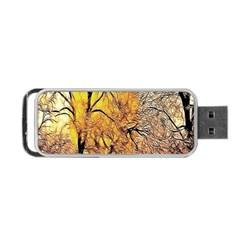 Summer Sun Set Fractal Forest Background Portable Usb Flash (one Side)