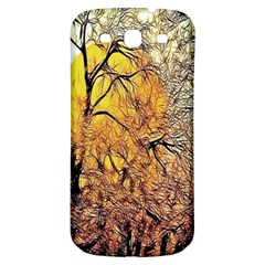 Summer Sun Set Fractal Forest Background Samsung Galaxy S3 S III Classic Hardshell Back Case
