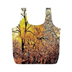 Summer Sun Set Fractal Forest Background Full Print Recycle Bags (M)