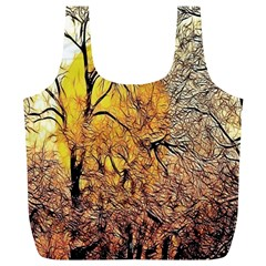 Summer Sun Set Fractal Forest Background Full Print Recycle Bags (L)
