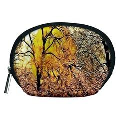 Summer Sun Set Fractal Forest Background Accessory Pouches (Medium)